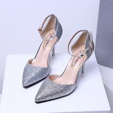 2019 Sandalias femeninas black high heel stiletto sandals sexy sequins heels women summer 34-39 yards