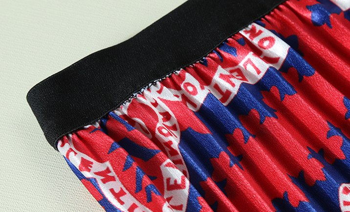 Wreeima Женская юбка плиссированная весна осень 2019 Высокая талия с буквенным принтом юбки для женщин Повседневная модная плиссированная миди юбка - 5