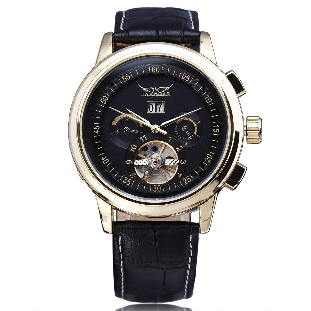WINNER Men Mechanical Watch 3 Sub Dials Tourbillon Genuine Leather Strap Black Dial Rose Golden Case