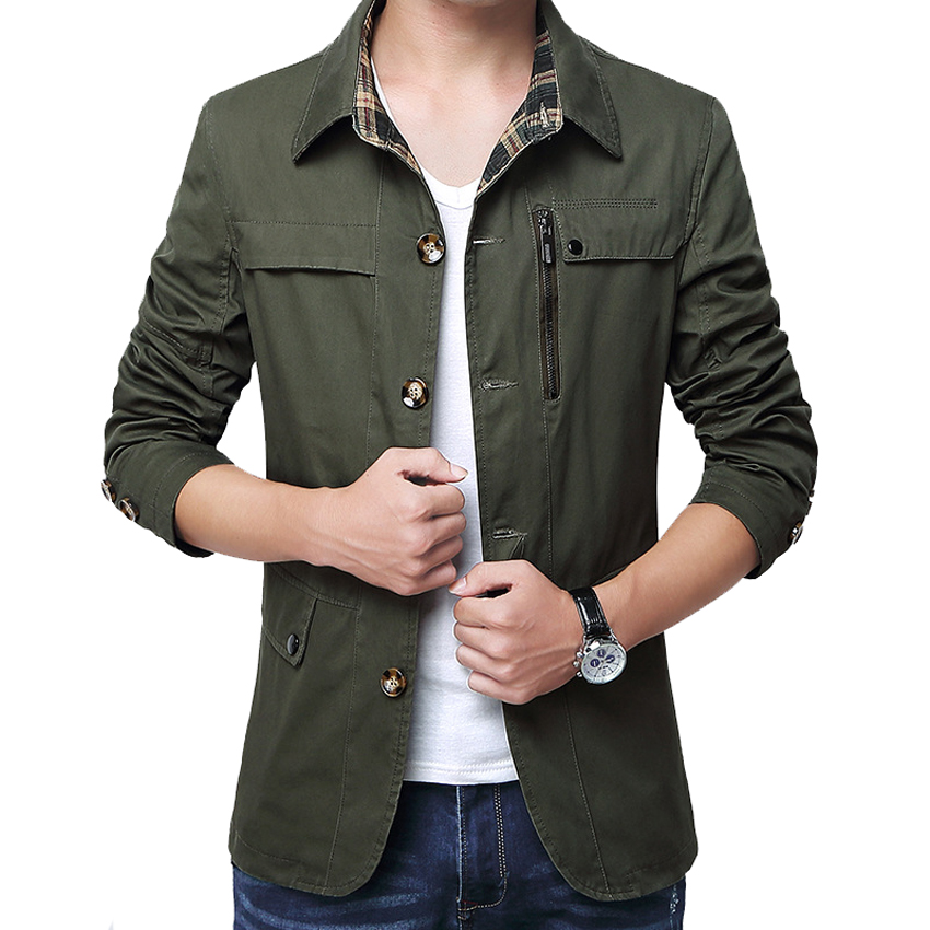 Outerwear Slim Fit Khaki Cotton Mens Jackets