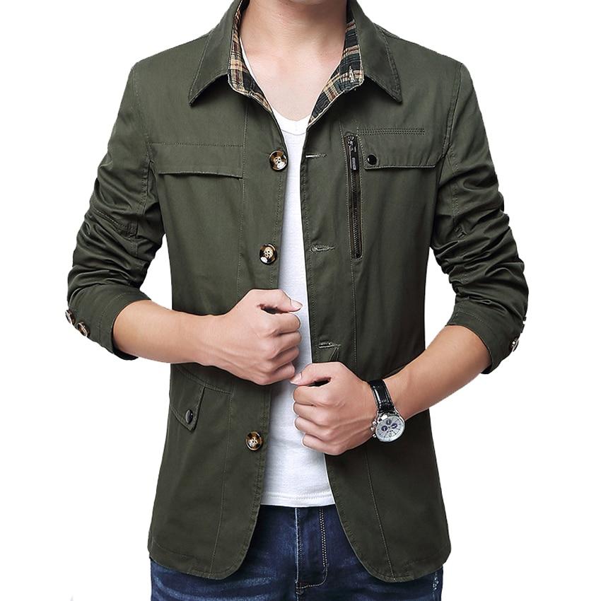 Outerwear Slim Fit Khaki Cotton Mens Jackets