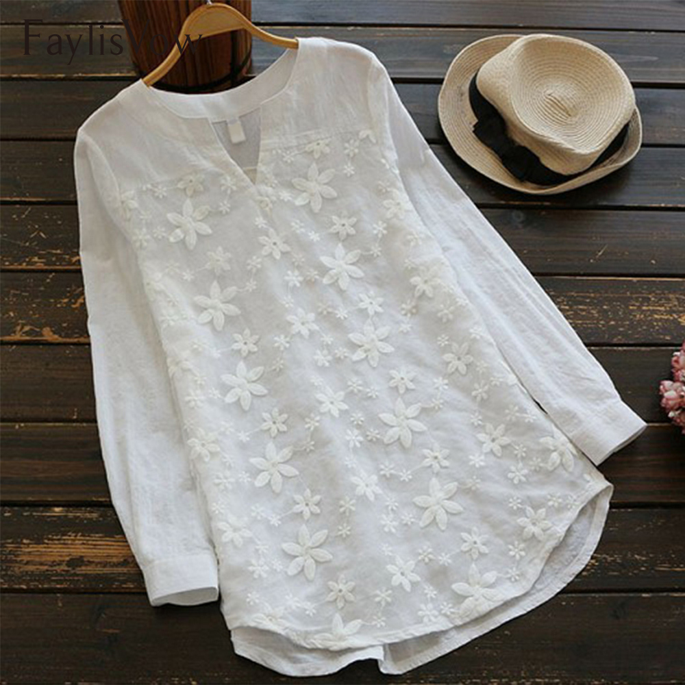 Plus Size White Blouse Women Office V Neck Embroidery Floral Tops And Blouses Loose Long Sleeve Lace Patchwork 5xl Tunic Shirts