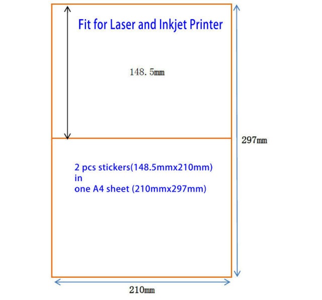 200 Half Sheet 210mm X 1485mm A5 Sticker Shipping Label For Laser