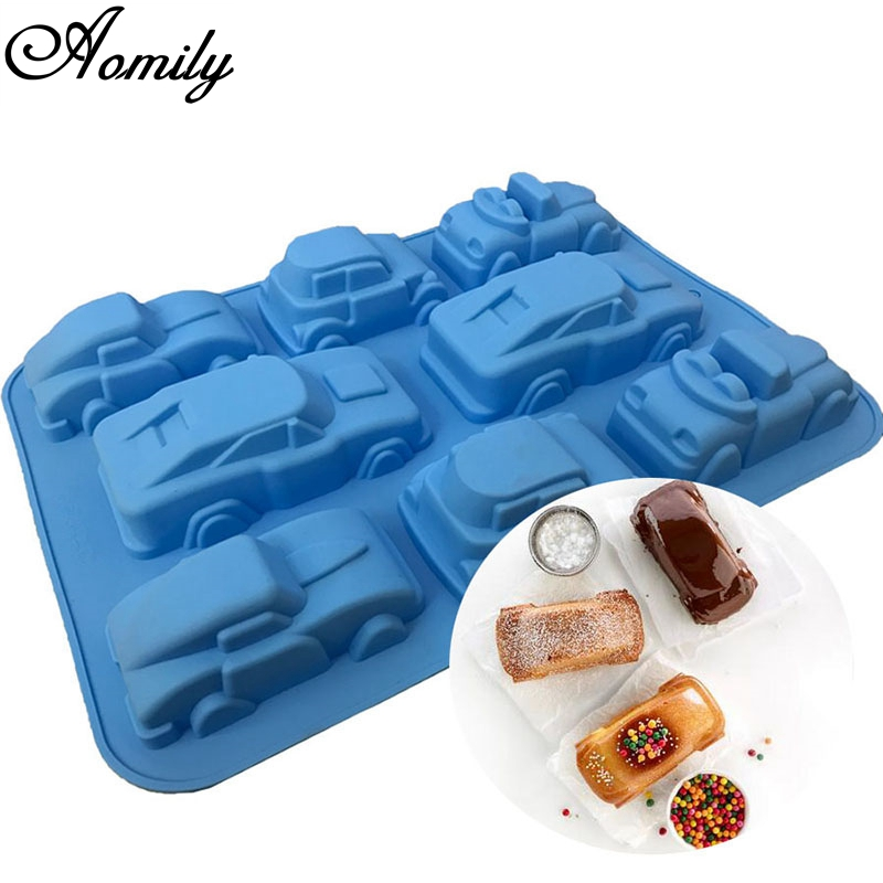 Aomily 3D Car Shape Silicone Cake Fondant Mold Chocolate Candy Pudding Ice Pastry Mould DIY Baking Pan Tray Make Child Gifts