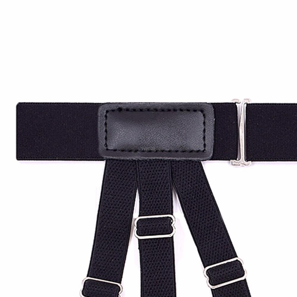 2Pcs/Set Elastic Leg Suspenders Shirt Stays Holder Straps Metal Locking Clamps