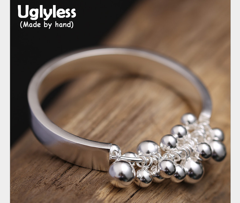 Uglyless Real S925 Sterling Silver Balls Tassel Bangles Wide Close Bangle Exaggerated Designer Beading Fine Jewelry PersonalizedUglyless Real S925 Sterling Silver Balls Tassel Bangles Wide Close Bangle Exaggerated Designer Beading Fine Jewelry Personalized