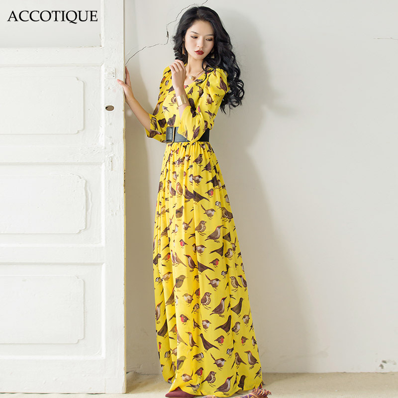 High Quality 2017 New Spring Summer Women's Puff Sleeve Bird Print Long Maxi Dress Female Plus Size Vintage Slim Yellow Dresses-in Dresses from Women's Clothing    1