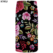 KYKU Brand Flower Skirts Women Leaf Party Skirt Large Size Colorful High Waist Sexy Floral Cool Womens 2018 New Casual