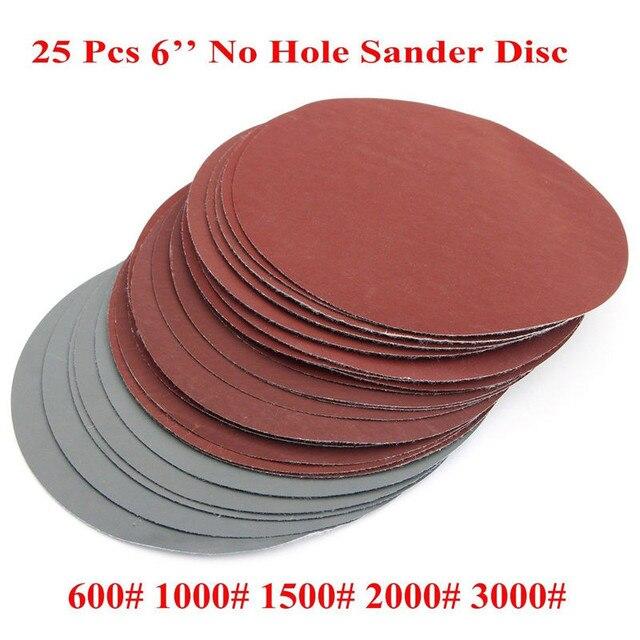 25 יח\סט 6 אינץ 150mm עגול נייר זכוכית דיסק חול גיליונות חצץ 600 3000 וו לולאה מלטש דיסק עבור סנדר גריסים שוחקים כלים