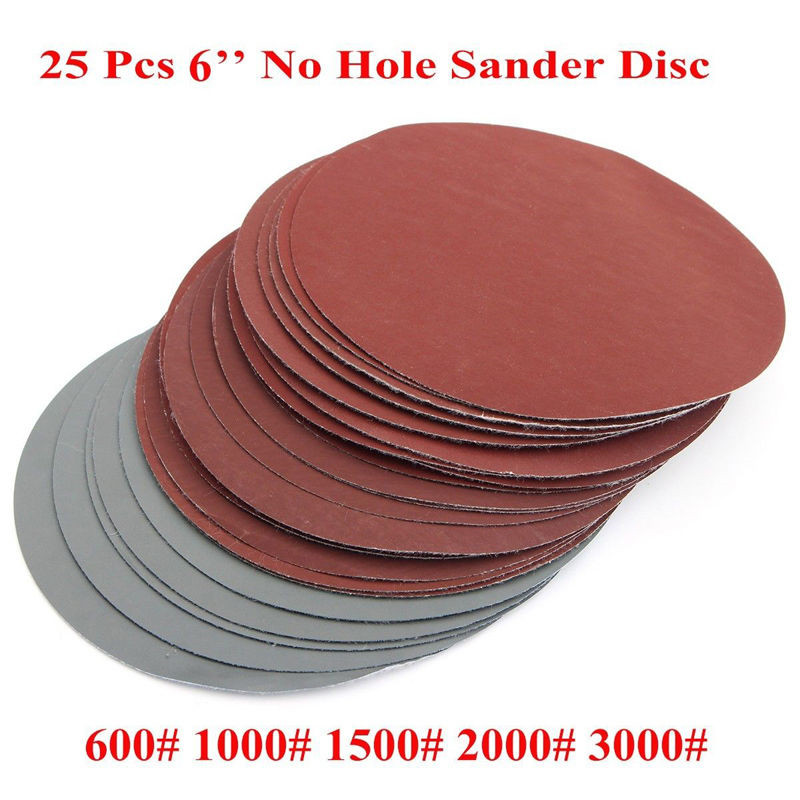 25pcs/Set 6 Inch 150mm Round Sandpaper Disk Sand Sheets Grit 600-3000 Hook Loop Sanding Disc For Sander Grits Abrasive Tools
