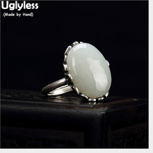 Uglyless Real Solid 925 Sterling Silver Ethnic Bats Open Rings for Women Vintage Thai Fine Jewelry Oval Natural Jade Ring