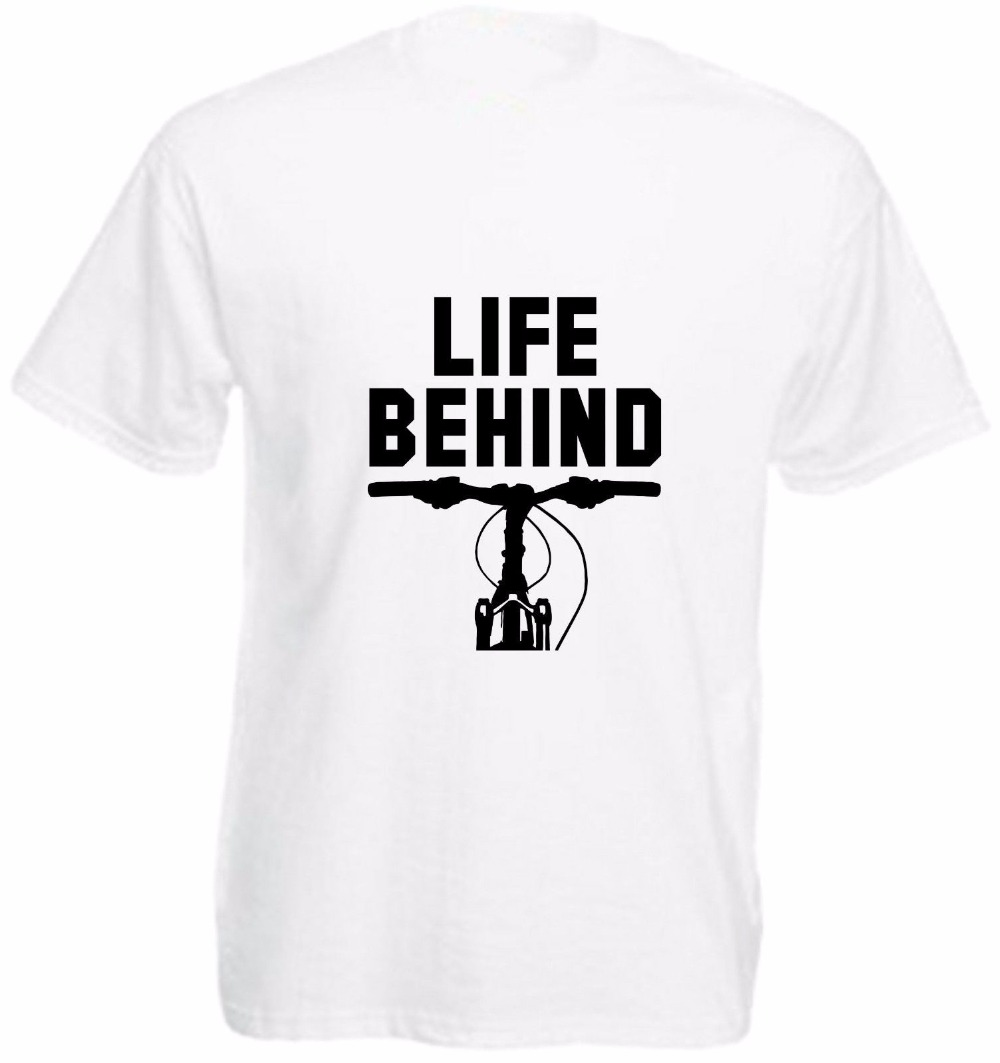 Male Battery Funny Cotton Tops 2018 New Novelty Tee shirt Men Life Behind Biker Bars T Shirt Funny Top Gift Present Mountain