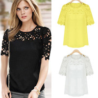 2017 Summer Women Clothing Summer New Feminine Lace Shirt Round Neck Short Sleeve Chiffon Blouse Female Tops Shirt Free Shipping