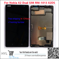 100% original novo para nokia x2 dual sim rm-1013 x2ds lcd screen display + touch screen digitador + quadro assembléia moldura teste ok