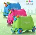 Creativo de la manera muchacha del muchacho de bebé de Juguete coches de caja de equipaje maleta locker casilla caja de barra de tracción se Puede sentar a montar los niños de vacaciones regalo