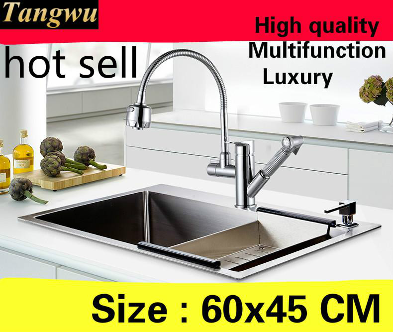 Free shipping Home high capacity kitchen manual sink single trough wash vegetables multifunction 304 stainless steel  600x450 MMFree shipping Home high capacity kitchen manual sink single trough wash vegetables multifunction 304 stainless steel  600x450 MM