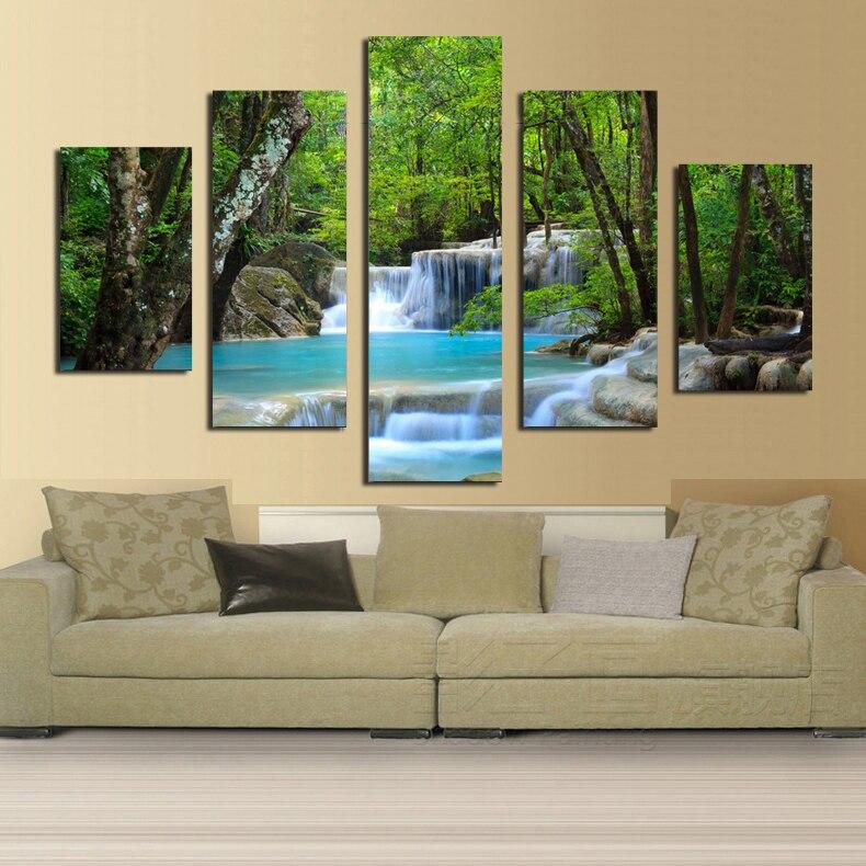 pequea cascada en el bosque hd pintura impresa sobre lienzo para la decoracin casera moderna sala