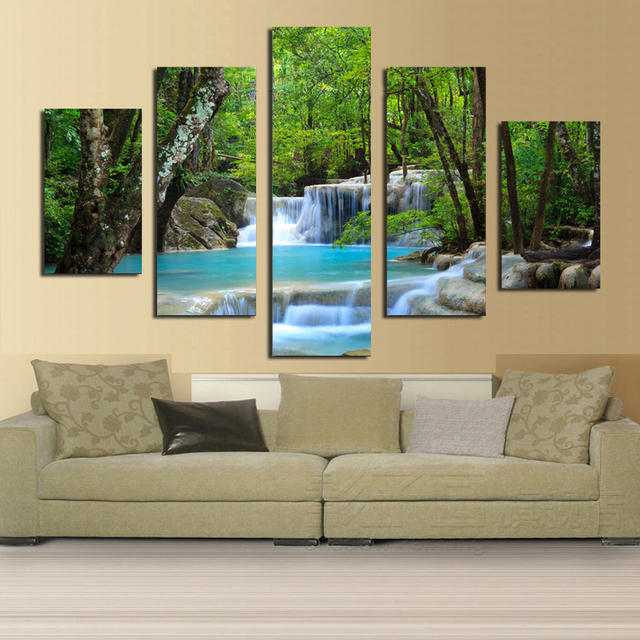 Small waterfall in the woods painting HD Printed on canvas for Home ...
