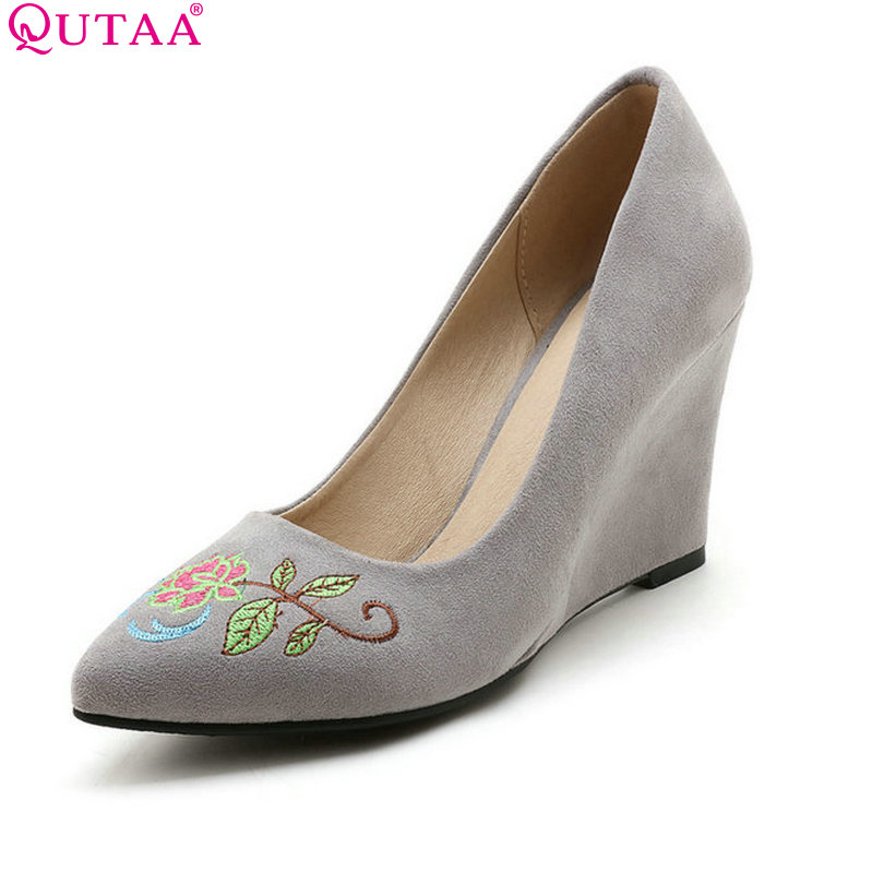 QUTAA 2017 Women Pumps Spring Ladies Summer Shoes Wedge High Heel Pointed Toe National Style Pink Woman Wedding Shoes Size 34-43 2015 spring and summer wedge heel women pump zipper ladies casual brow shoes