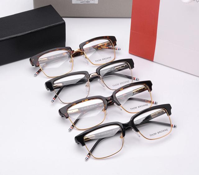 2017 THOM BROWNE Moda de Alta Qualidade Mulheres Designer de Marca Óculos de Armações Homens Quadrados quadros tb709 Óculos Half Frame