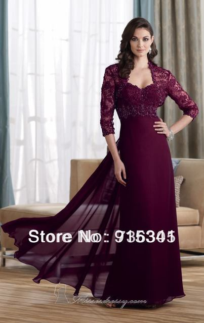 abafcd40dbbe 2013 Loveable Strapless Chiffon Full Length 3/4 Sleeves Lace Bolero  Burgundy Mother of Bride Dress