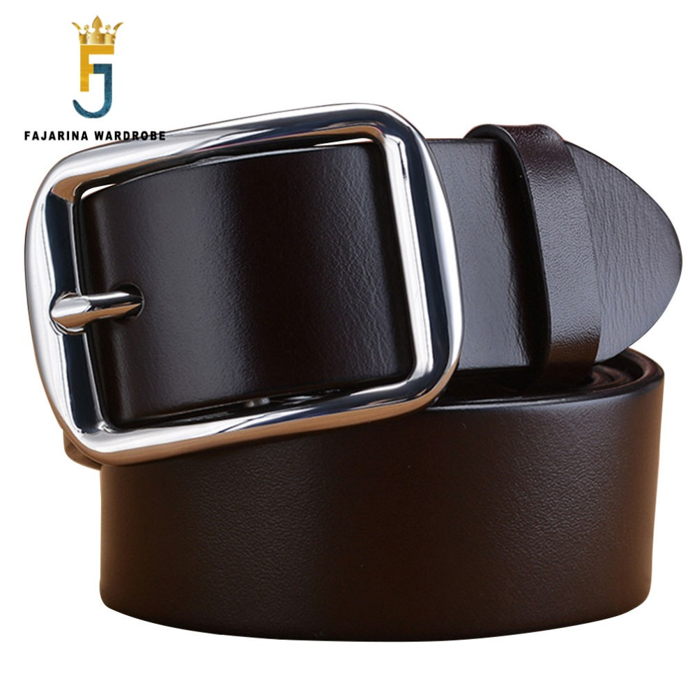 FAJARINA Mens Top Quality 100 Genuine Leather Retro Styles Stainless Steel Pin Buckle Belts Men 3