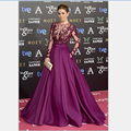 Celebrity Dress Silk Chiffon Long Purple Prom Dress Long Sleeves Formal Evening Gown High Neck A Line vestidos para festa