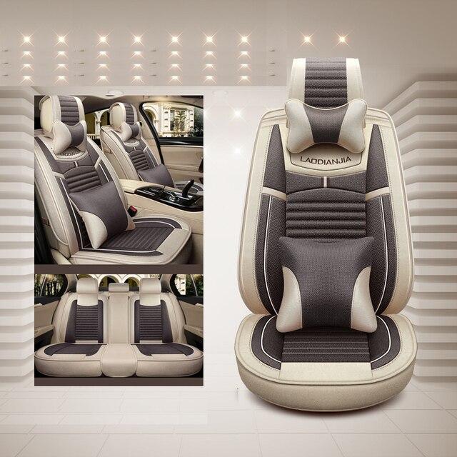 מכונית כיסוי מושב פשתן אוניברסלי מושב כרית רכב סטיילינג עבור סקודה אוקטביה פאביה מעולה ראפיד Yeti Spaceback Joyste Jeti מדבקות