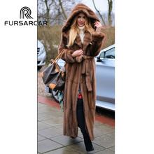 FURSARCAR 2018 Luxury New Real Mink Fur Coat Women Fashion Natural Genuine Female 120 cm Long Jacket