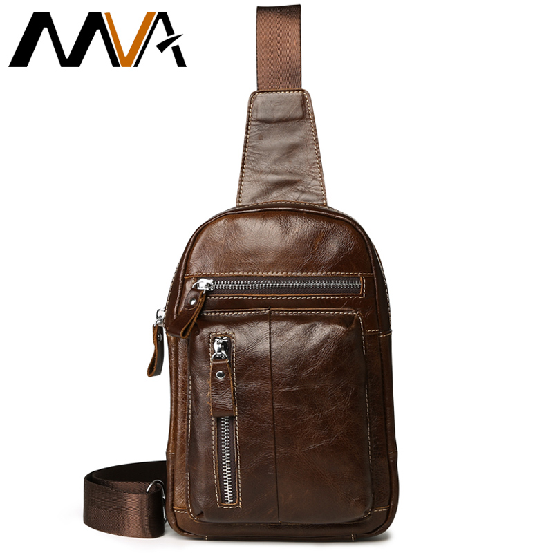 MVA Genuine Leather Men Leather Chest Bag Men Bag Vintage Crossbody Bag for Man Shoulder Bags Casual Belt Chest Waist Pack bullcaptain messenger bag leather men bag genuine leather waist pack small shoulder crossbody bags fashion ipad belt chest bags