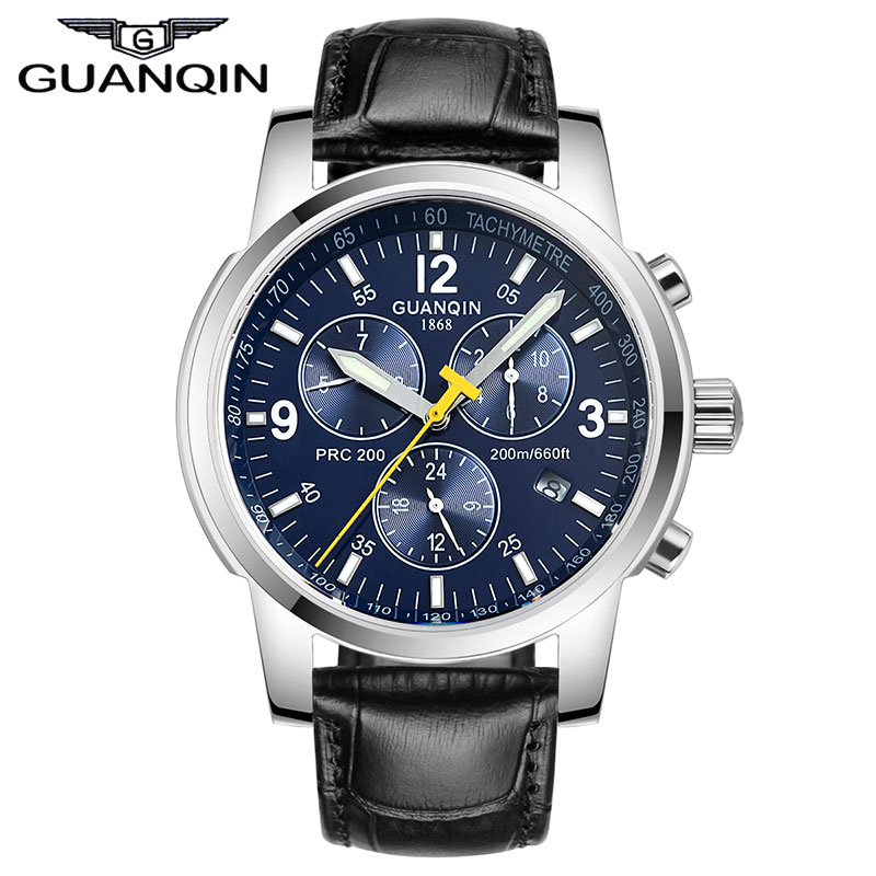 GUANQIN GQ50009 relogio masculino Automatic Self-Wind Luxury Men Sport Watch Mens 24 Hour Date Luminous Full Steel Wristwatch original binger mans automatic mechanical wrist watch date display watch self wind steel with gold wheel watches new luxury