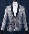 Мужской Тонкий Вскользь Куртка мужская Серебро Золото Блестками Blazer Танцор DS Костюмы Верхняя Одежда Певица DJ Этап Производительность Пром Пальто W847
