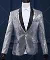 Male Slim Casual Jacket Men's Silver Gold Sequins Blazer Dancer DS Costumes Outerwear Singer DJ Stage Performance Prom Coat W847