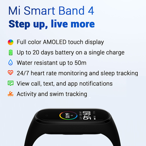 "Image 2 - 글로벌 버전 Xiaomi Mi Band 4 스마트 밴드 0.95 ""컬러 AMOLED 디스플레이 피트니스 트래커 팔찌 심박수 추적기 135mAh"