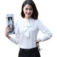 Nouveau mode femmes rose vêtements à manches longues mince arc cravate chemise formelle de mousseline de soie blouses dames de bureau vêtements de travail plus la taille tops