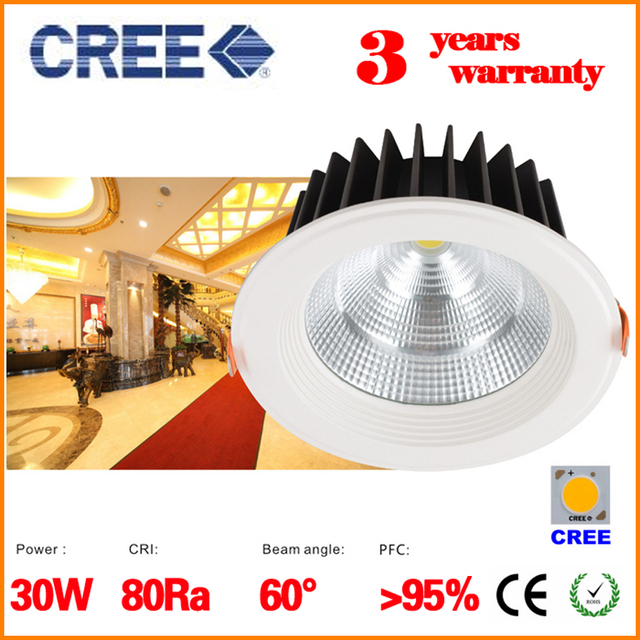 Dhl Super Bright Dimmable Led Downlight Cob Ceiling Recessed Lights Cree 30w 6 Inch 60 Degree 3000k 4000k 5000k Indoor Lighting In Downlights From