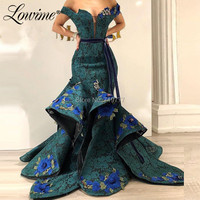 Dark Green Lace Evening Dress Off Shoulder With Applique Mermaid Party Gowns 2019 Couture Saudi Arabic Dubai Dress Abendkleider