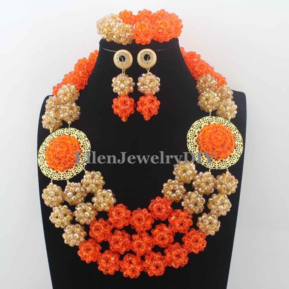 2019 mode nouveau Orange africain cristal perles collier ensemble nigérian mariage africain perles ensemble de bijoux livraison gratuite W13473