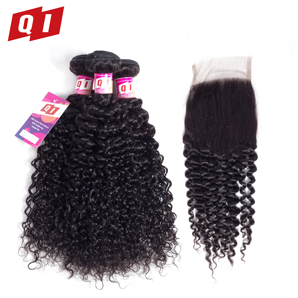 QI Hair Malaysian Kinky Curly Hair 100% Non Remy Natural Color Bundles With Closure Human Hair 3 Bundles With 4*4 Lace Closure