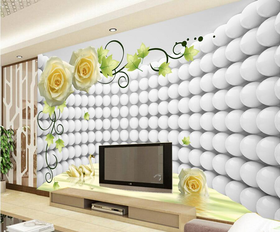 Buy custom modern wallpaper design 3d rose swan papel de parede hotel for Living room wallpaper design