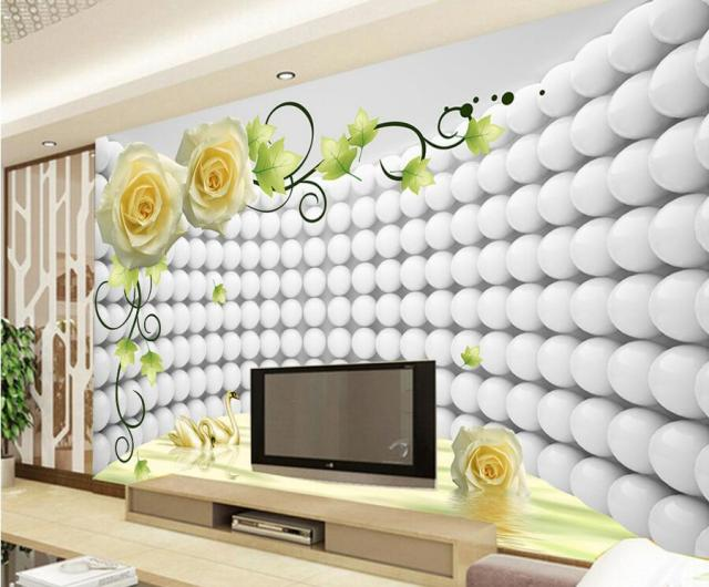 Custom modern wallpaper design 3d rose swan papel de for 3d wallpaper in living room