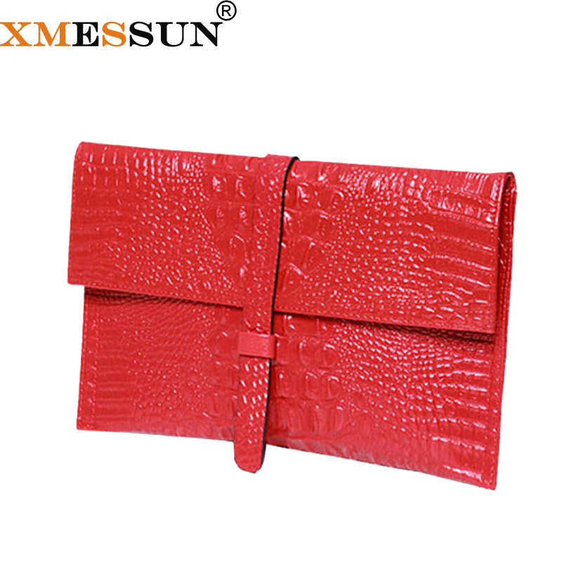 XMESSUN Envelope Clutch Genuine Leather Leather Alligator Texture Wallet Women Shoulder Bag Messenger Bag 2018 Dropshipping