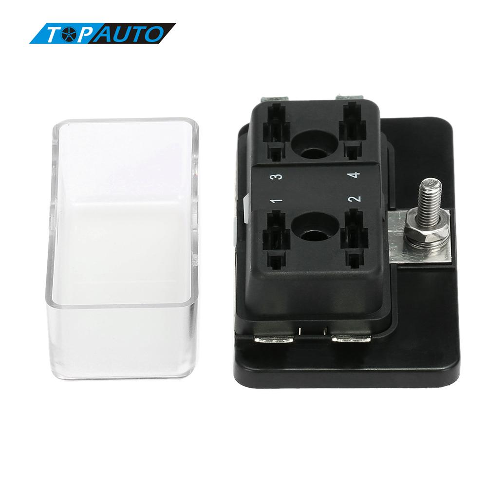 medium resolution of 4 way blade fuse box holder m5 stud standard 6 3mm spade terminals maximun 32v for car van boat marine 12v 24v