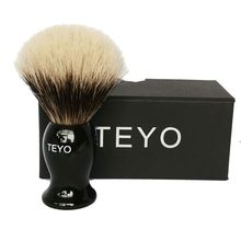 TEYO Two Band Finest Badger Hair Shaving Brush of Resin Handle with Gift Box Perfect for Safety Razor Double Edge Razor 24mm yaqi two band badger hair brushes for razor