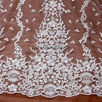 New Off white good quality with sparkling sequins embroidery lace fabric wedding dress/evening dress lace fabric 130cm by yard