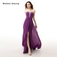 Sexy High Split Purple A-Line Sweetheart Beaded Pleated Evening Dresses 2017 Formal Women Long Party Prom Gowns vestido de noche