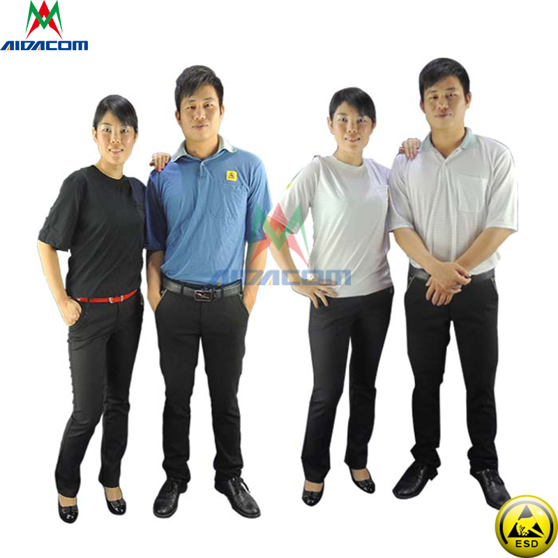 Free Shipping Work Shirt ESD T-Shirt Antistatic Polyester Electronics Work Wear Antis tatic ESD Polo Shirt work clothes work