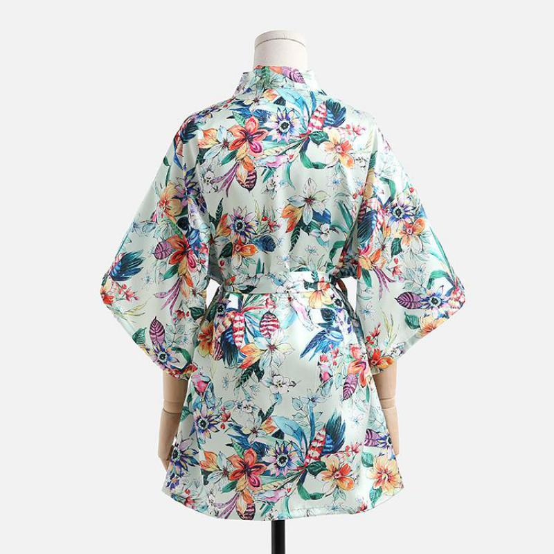 Lady Night Dress Rayon Nightwear Flower Casual Robes Light Green Kimono Bath Gown Summer Home Clothes Intimate Lingerie S-XXL