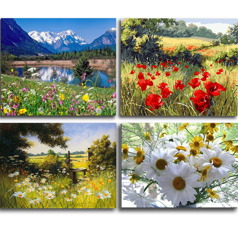 DIY Diamond Embroidery Painting Cross Stitch Kit Flower Landscape Home Decor