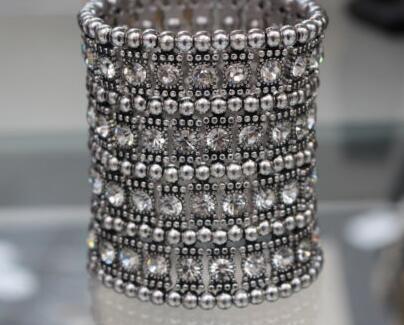 91ea87f9d8e Gold Silver 4ROW Crystal Stretched Elastic Strand Wrist Bangle Wristband  Cuff Bracelet Bangle Women Wedding Party
